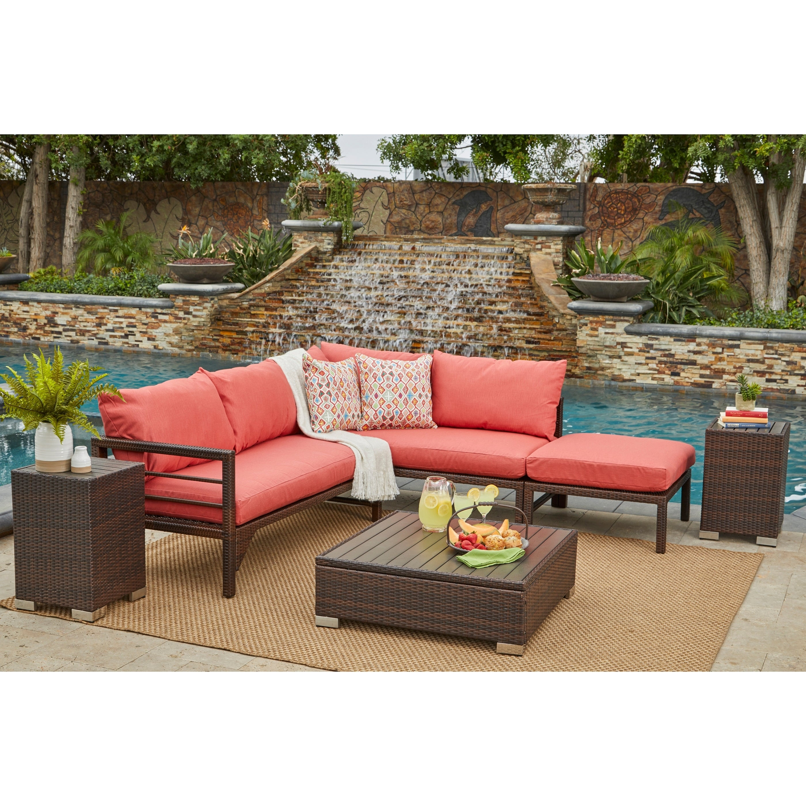 Havenside Home Stillwater Brown Indoor/Outdoor Sectional Seating Group with Coral Cushions