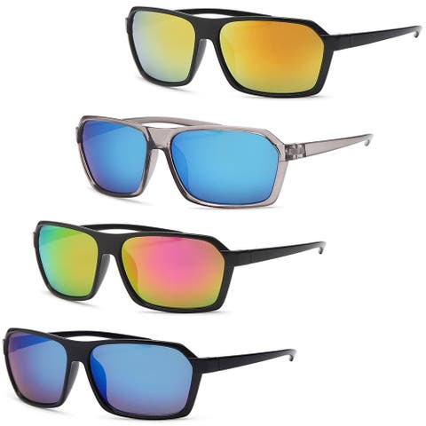 AFONiE Square Wraparound Style Frame Sunglasses for men - 4Pack