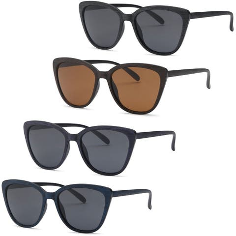 AFONiE Cat Eye Wood Texture Frame Sunglasses for women - 4Pack - Black