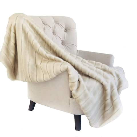 Plutus Fancy Mink Faux Fur Ivory Luxury Blanket