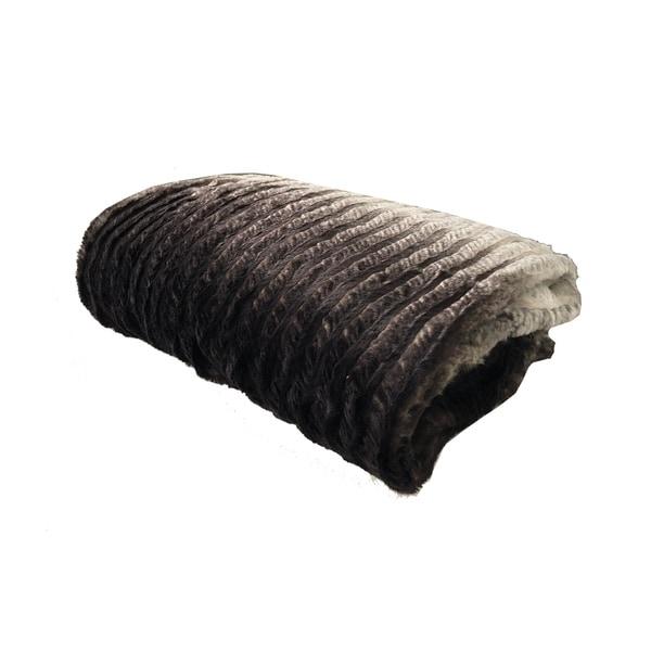 Plutus Chocolate Brown Ivory Faux Fur Luxury Blanket