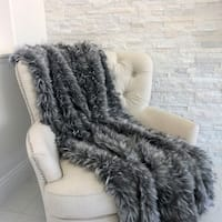 Plutus Wolf Faux Fur Grey Luxury Throw