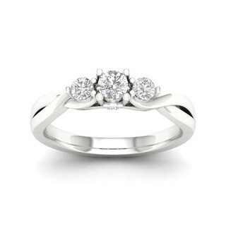 De Couer 14k Gold 1/2ct TDW Diamond Three-Stone Engagement Ring