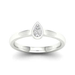 De Couer 10k Gold 1/6 ct TDW Diamond Pear Shape Ring (More options available)