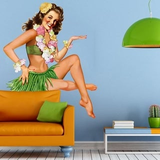 """Pin Up Hawaii Full Color Wall Decal Sticker K-885 FRST Size 22""""x27"""""""