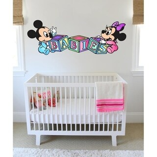 """Minnie Mickey Cubes Kids Full Color Wall Decal Sticker K-913 FRST Size 52""""x104"""""""