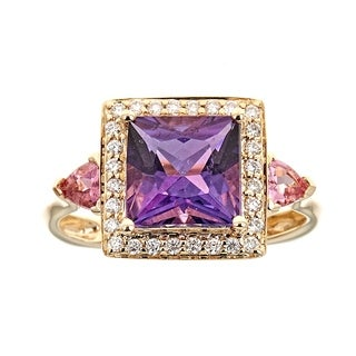 14K Yellow Gold Amethyst, Pink Tourmaline And Diamond Ring by Anika and August - White