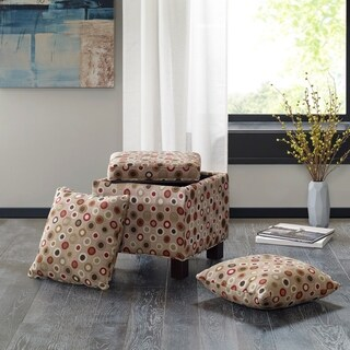 Madison Park Allison Beige Square Storage Ottoman with Pillows