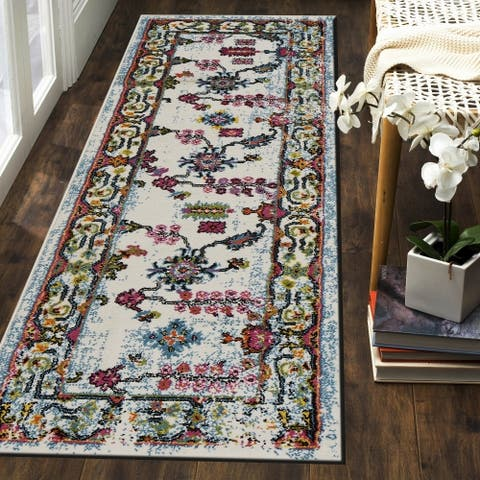 "LR Home Fusion Bright Botanical White/ Blue Olefin Rug - 2'3"" x 7'"