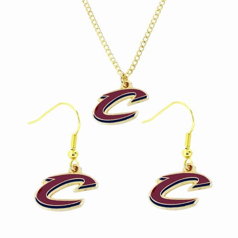 NBA Cleveland Cavs Cavaliers Sports Team Logo Necklace and Earring Set