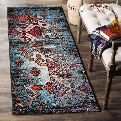 "LR Home Fusion Distressed Geometric Blue/ Black Olefin Rug - 2'3"" x 7'"