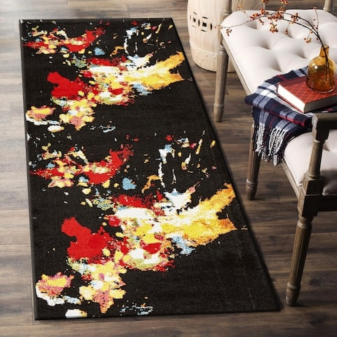 "LR Home Fusion Abstract Splash Black Olefin Rug - 2'3"" x 7'"