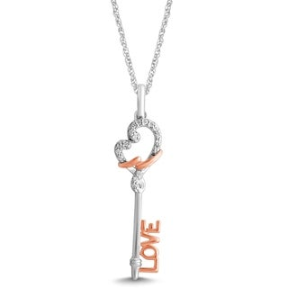 Unending Love 10K Two-Tone Gold 1/10 ctw Diamond (I-J Color, I2-I3 Clarity) Loving Arms Love Key Pendant