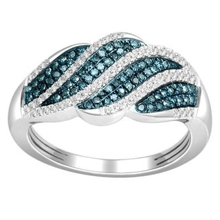 De Couer Sterling Silver 1/3ct TDW Blue and White Diamond Fashion Ring