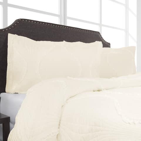 Hypoallergenic Quilt Set Striped Ruffle Design Kadyn Series WH