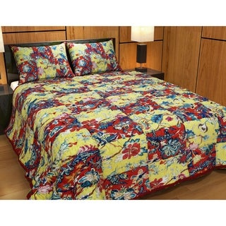 """Red and Yellow Swathe Squares Kantha King Quilt 105""""W x 95""""L"""