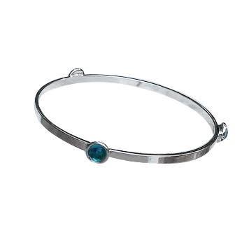 Handmade Recycled Re-purposed Vintage Aquamarine Blue Mason Jar Glass Stacking Bangle Bracelet (United States)