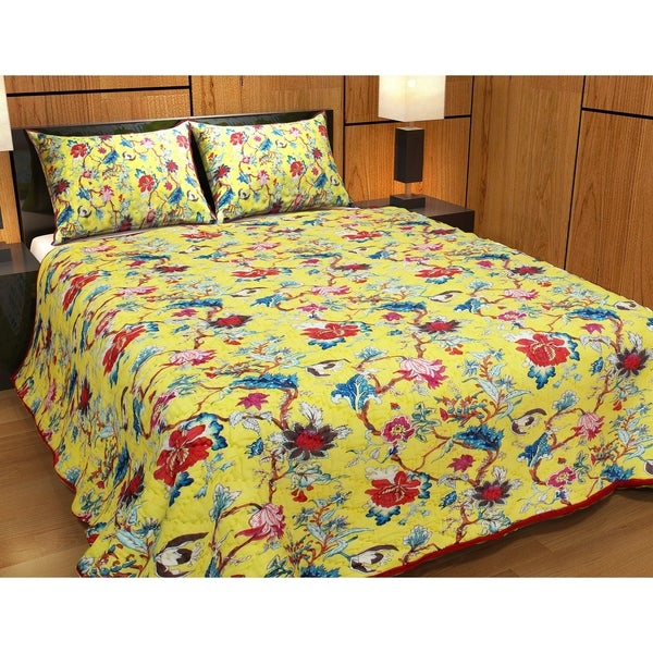 Yellow French Swathe Kantha Super Queen Quilt 92 W X 96 L
