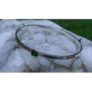 Recycled Vintage 1960s Emerald Green Beer Bottle Glass Stacking Bangle Bracelet