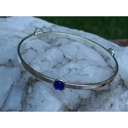 Handmade Recycled Vintage 1960s Cobalt Face Cream Jar Stacking Bangle