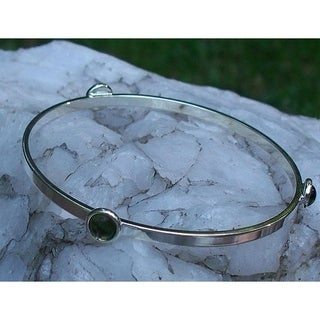 Recycled Early 1900's Olive Green Wine Bottle Glass Stacking Bangle Bracelet