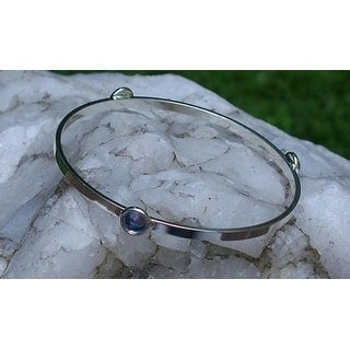 Recycled Early 1900's Purple Medicine Bottle Glass Stacking Bangle Bracelet