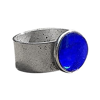 Recycled Vintage 1960's Cobalt Face Cream Jar Adjustable Ring