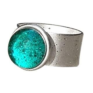 Recycled Vintage Aquamarine Mason Jar Adjustable Ring