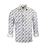 Contrasted Floral Long-Sleeve Dress Shirt