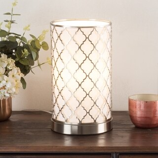 LED Uplight Table Lamp Steel Finish Laser Cut Quatrefoil Pattern WH