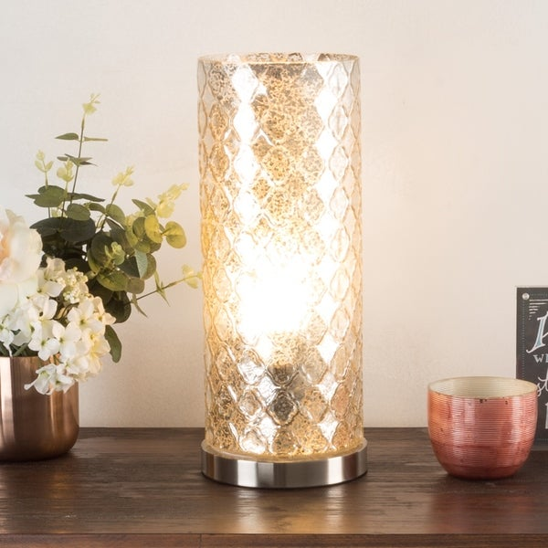 LED Uplight Table Lamp with Silver Mercury Finish, Embossed Trellis WH