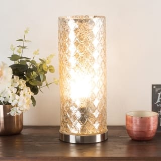 Buy shabby chic floor lamps online at overstock our best led uplight table lamp with silver mercury finish embossed trellis wh aloadofball Choice Image