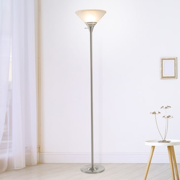 Torchiere Floor Lamp Marbleized Glass Shade WH