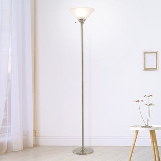 Torchiere Floor Lamp Metal Base & Frosted Glass Shade WH