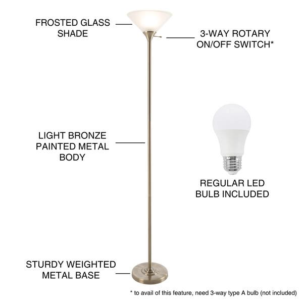 Shop Torchiere Floor Lamp Frosted Glass Shade Energy Saving Led