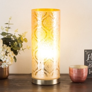 LED Uplight Table Lamp Amber Glass, Hand Painted Floral Moroccan WH