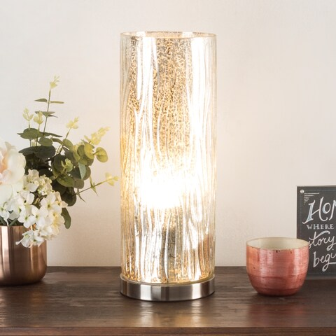 LED Uplight Table Lamp Silver Mercury Finish Textured Tree Bark WH