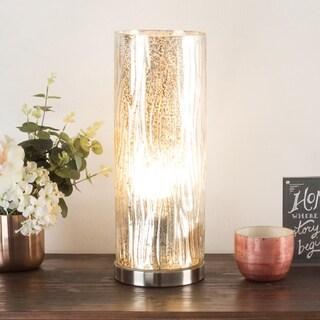 LED Uplight Table Lamp Silver Mercury Finish Textured Tree Bark WH