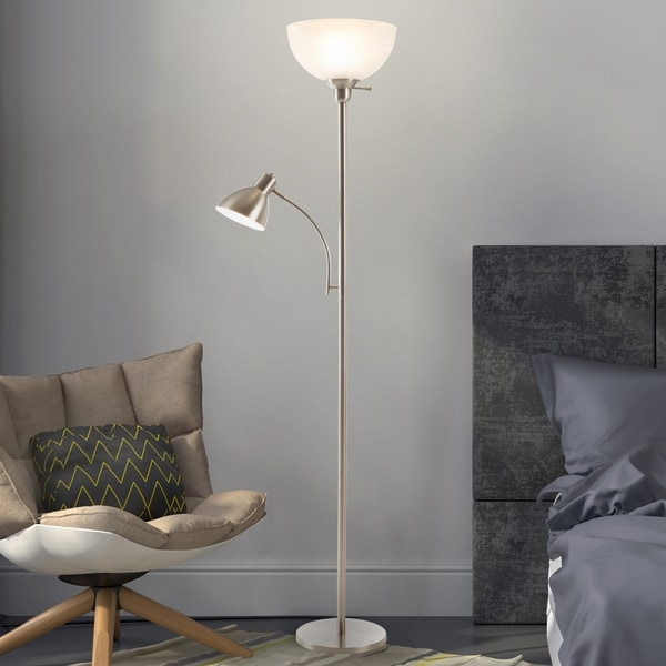 Torchiere Floor Lamp Reading Light Marbleized White Glass Shade WH