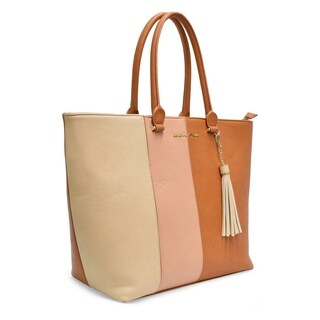 Adrienne Vittadini Color Block Workbook Tote With Tassle Brown Multi