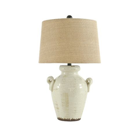 Emelda Cream 27 Inch Table Lamp