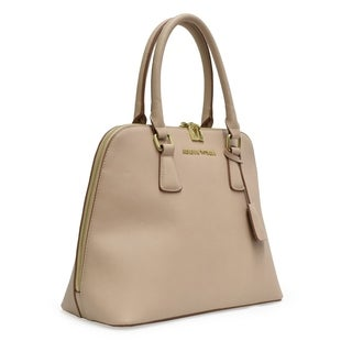 Adrienne Vittadini Classic Smooth Dome Satchel-Taupe