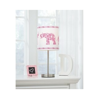 Signature Design by Ashley Nessie Pink and White Elephant Kid's Table Lamp