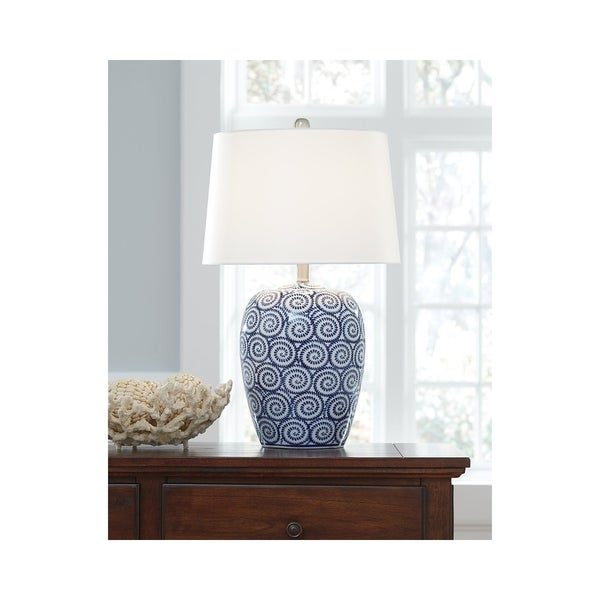 Signature Design by Ashley Malini White and Blue Table Lamp
