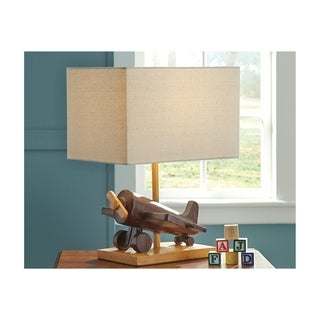 Signature Design by Ashley Nicolas Brown Wood Toy Plane Kid's Table Lamp