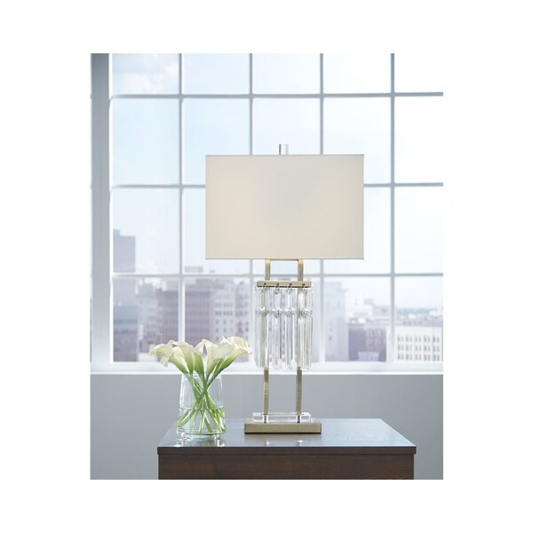 Megdalia Clear and Brass 30 Inch Table Lamp