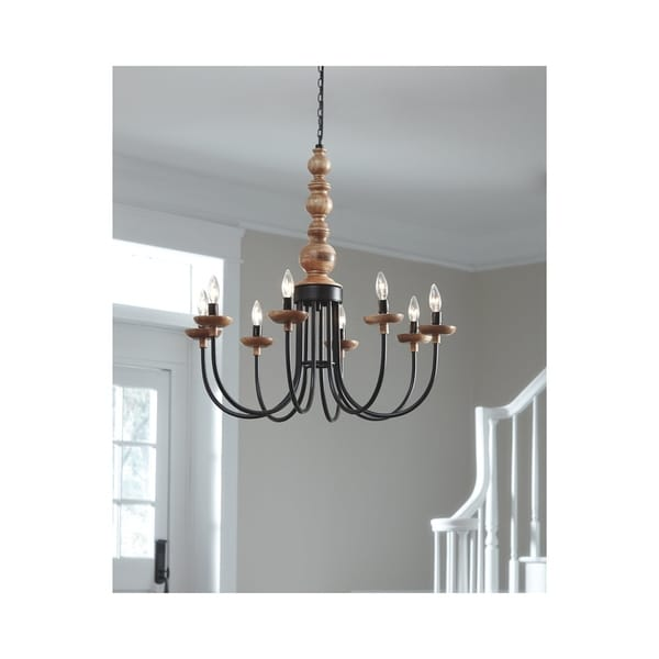 Fabrice Black and Natural 30 Inch Wide Pendant Light