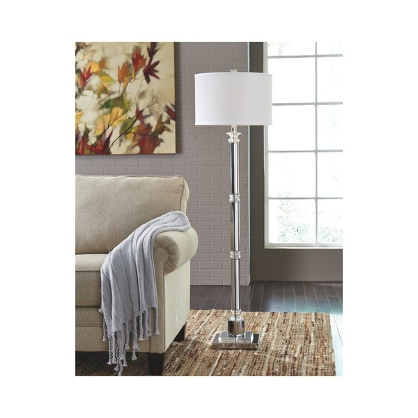 Marlon Clear and Silver Finish 62 Inch Floor Lamp