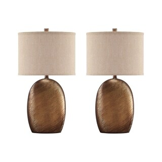 Lewelyn Copper Finish 27 Inch Table Lamps - Set of 2