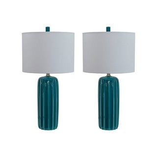 Adorlee Teal Table Lamps Set of 2